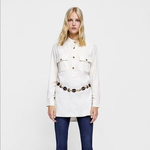Zara Denim Ivory LSleeve Corduroy Shirt M NWT